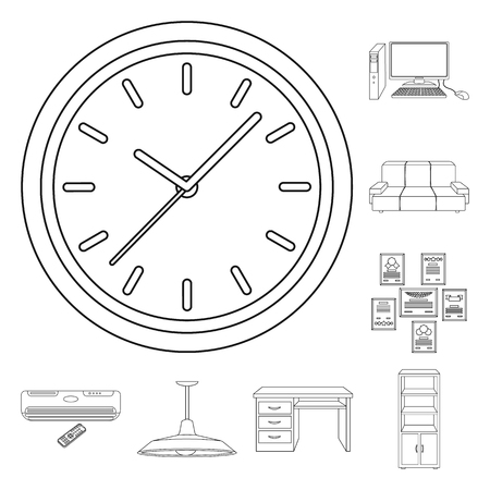 Interior of the workplace outline icons in set collection for design. Office furniture vector symbol stock web illustration. Stock Illustratie