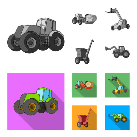 Tractor, hay balancer and other agricultural devices. Agricultural machinery set collection icons in monochrome,flat style vector symbol stock illustration web.