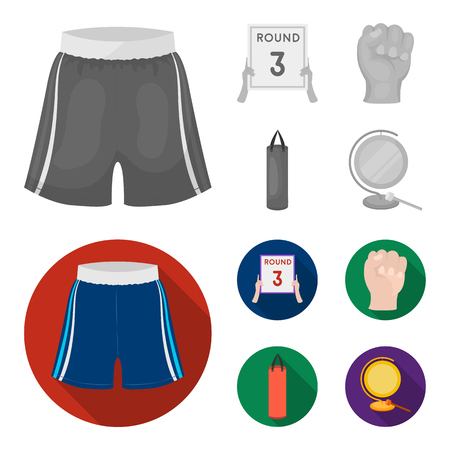 Boxing, sport, round, hand. Boxing set collection icons in monochrome,flat style vector symbol stock illustration web. Illustration