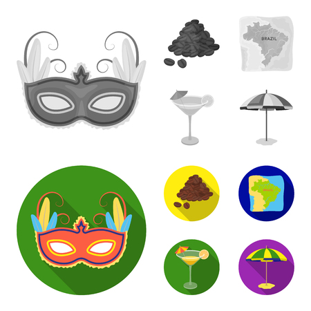 Brazil, country, mask, carnival . Brazil country set collection icons in monochrome,flat style vector symbol stock illustration web.