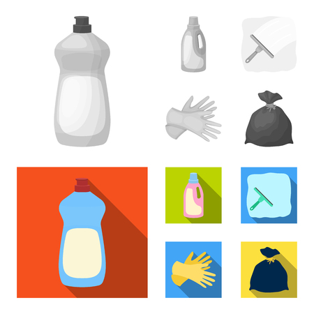 Gel for washing in a pink bottle, yellow gloves for cleaning, a brush for glass, a black bag for garbage or waste. Cleaning set collection icons in monochrome,flat style vector symbol stock illustration web.
