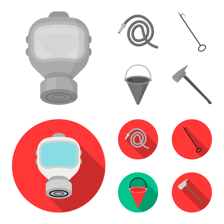 Gas mask, hose, bucket, bagore. Fire department set collection icons,flat style vector symbol stock illustration web.