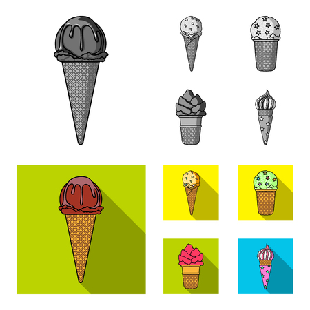 Ice cream on a stick, in a waffle cone and other species. Ice cream set collection icons in monochrome, flat style vector symbol stock illustration web.