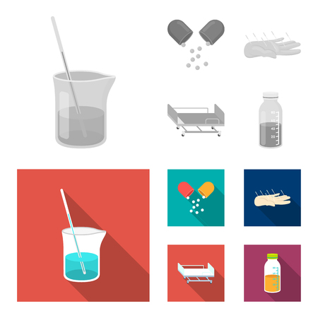 Solution, tablet, acupuncture, hospital gurney. Medicine set collection icons in monochrome, flat style vector symbol stock illustration web. Illustration