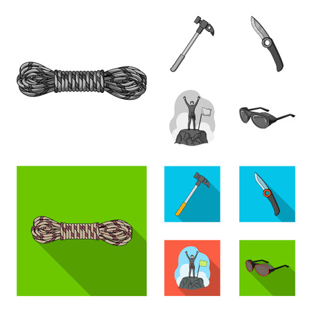 Climber on conquered top, coil of rope, knife, hammer. Mountaineering set collection icons in monochrome, flat style vector symbol stock illustration web. Reklamní fotografie - 101187902
