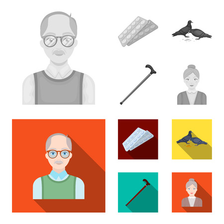 Elderly men, tablets, pigeons, walking cane.Old age set collection icons in monochrome,flat style vector symbol stock illustration web.