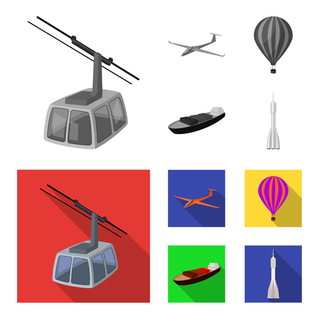 A drone, a glider, a balloon, a transportation barge, a space rocket transport modes. Transport set collection icons in monochrome,flat style vector symbol stock illustration web. Ilustrace
