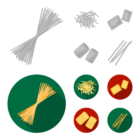 Different types of pasta. Types of pasta set collection icons in monochrome,flat style vector symbol stock illustration web.