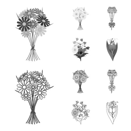 A bouquet of fresh flowers outline,monochrome icons in set collection for design. Various bouquets vector symbol stock web illustration.