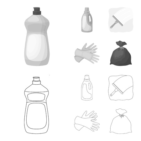 Gel for washing in a pink bottle, yellow gloves for cleaning, a brush for glass, a black bag for garbage or waste. Cleaning set collection icons in outline,monochrome style vector symbol stock illustration web.