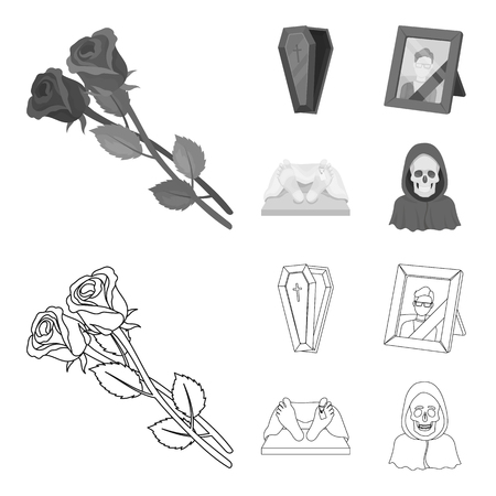 Coffin with a lid and a cross, a photograph of the deceased with a mourning ribbon, a corpse on the table with a tag in the morgue, death in a hood. Funeral ceremony set collection icons in outline,monochrome style vector symbol stock illustration web.