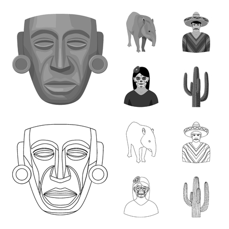 Tapir Mexican animal, a Mexican in national clothes in a poncho, a woman with a flower, a cactus. Mexico country set collection icons in outline,monochrome style vector symbol stock illustration web.