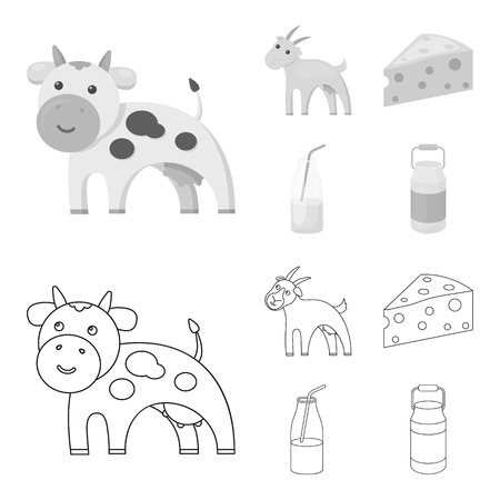 Goat, a piece of cheese and other products. Milk set collection icons in outline,monochrome style vector symbol stock illustration web.