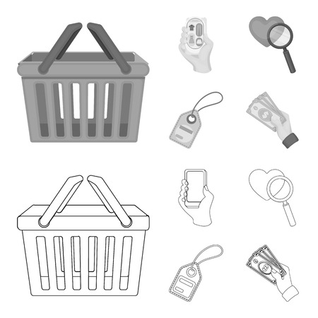 Hand, mobile phone, online store and other equipment. E commerce set collection icons in outline,monochrome style vector symbol stock illustration . Illustration