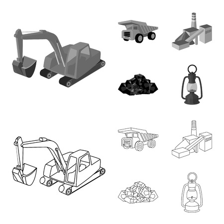 Excavator, dumper, processing plant, minerals and ore.Mining industry set collection icons in outline,monochrome style vector symbol stock illustration . Illustration