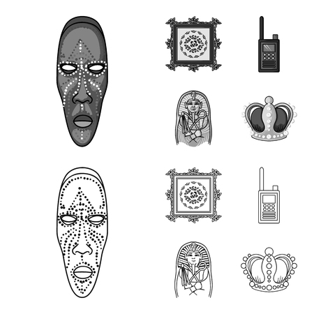 Picture, sarcophagus of the pharaoh, walkie-talkie, crown. Museum set collection icons in outline,monochrome style vector symbol stock illustration .