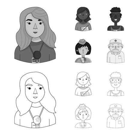 A journalist with a microphone with a badge, a teacher with a pointer in beads, a stewardess in a pilot cap, an athlete with a bandage on her head.People of different professions set collection icons in outline,monochrome style vector symbol stock illustration web. Vectores