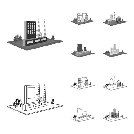 Processing factory,metallurgical plant. Factory and industry set collection icons in outline,monochrome style isometric vector symbol stock illustration .