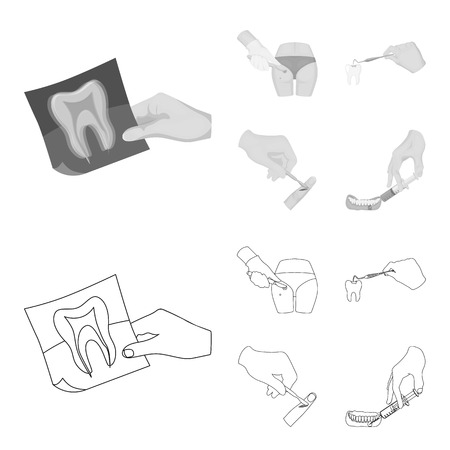 Tooth, X-ray, instrument, dentist and other  icon in outline,monochrome style. surgeon, abscess, scalpel icons in set collection.