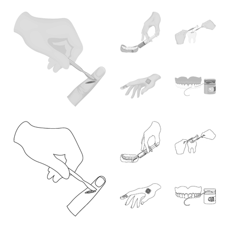 Anesthetic injection, dental instrument, hand manipulation, tooth cleaning and other  icon in outline,monochrome style. bactericidal plaster, medicine icons in set collection.