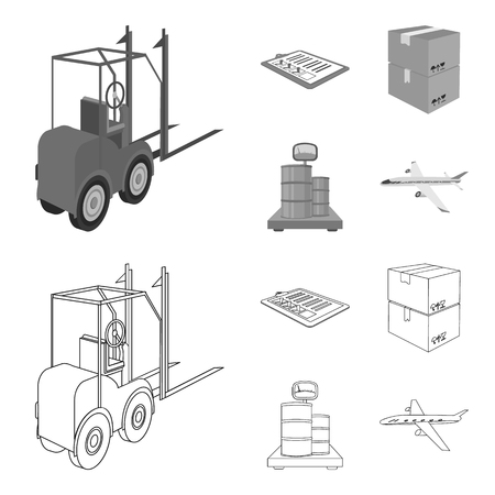 Forklift, delivery slips, packaged goods, cargo on weighing scales. Logistics and delivery set collection icons in outline,monochrome style isometric vector symbol stock illustration .
