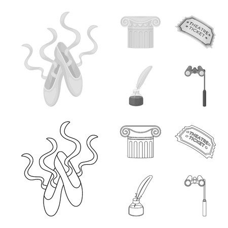 Pointe shoes, column, theater ticket, inkwell with feather. Theater set collection icons in outline,monochrome style vector symbol stock illustration .