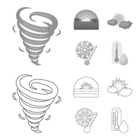 Tornado, sunrise, cloudiness, snow and frost. The weather set collection icons in outline,monochrome style vector symbol stock illustration .
