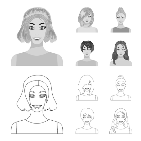 Types of female hairstyles outline,monochrome icons in set collection for design. Appearance of a woman vector symbol stock  illustration.