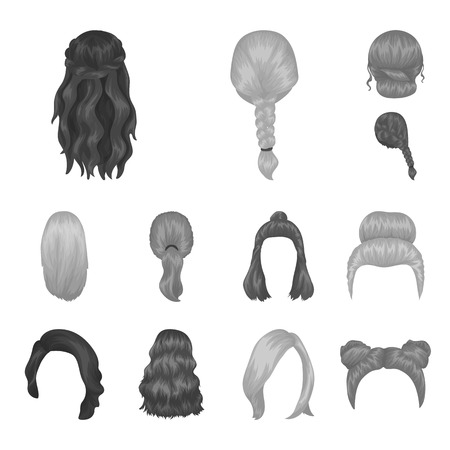 Female hairstyle monochrome icons in set collection for design. Stylish haircut vector symbol stock  illustration.