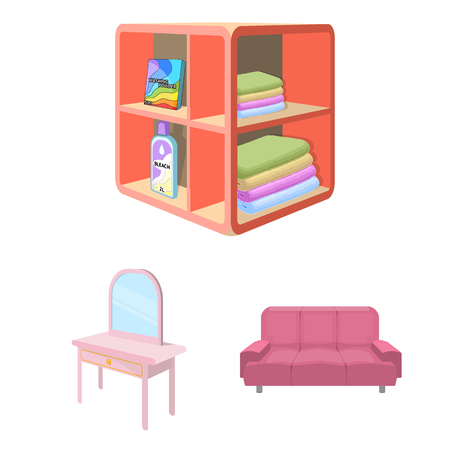 Furniture and interior cartoon icons in set collection for design. Home furnishings vector isometric symbol stock  illustration.