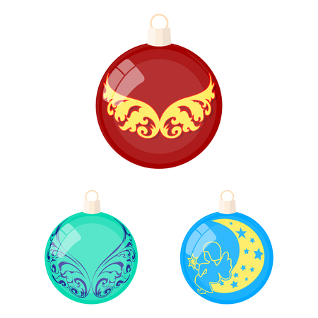 Balls for decoration cartoon icons in set collection for design.Christmas balls vector symbol stock web illustration. Illustration