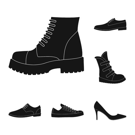 Different shoes black icons in set collection for design. Men and women shoes vector symbol stock illustration.