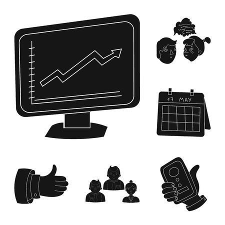Business Conference And Negotiations black icons in set collection for design.Business and training vector symbol stock  illustration. Stock Illustratie