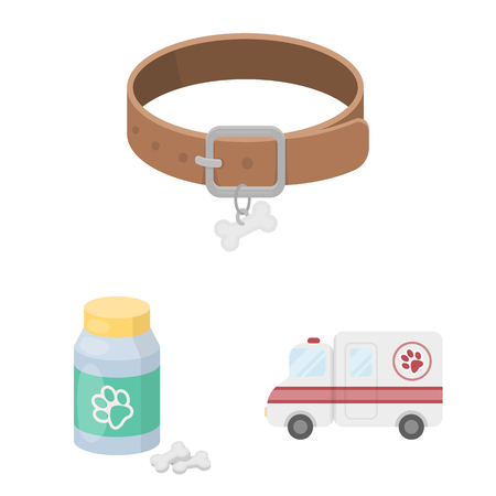 Veterinary clinic cartoon icons in set collection for design. Treatment of a pet vector symbol stock  illustration.