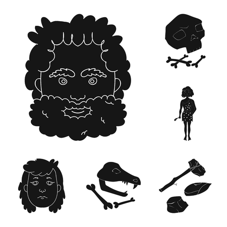 Life in the Stone Age black icons in set collection for design. Ancient people vector symbol stock  illustration. 向量圖像