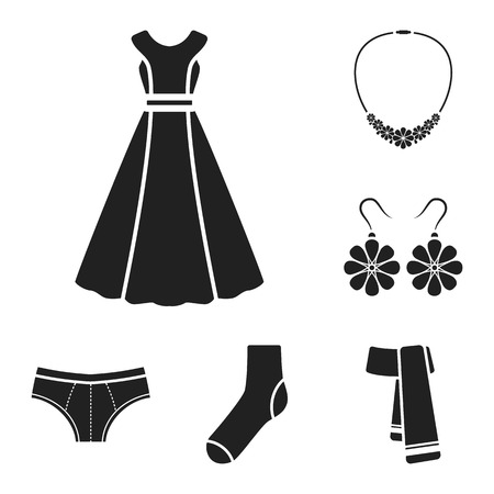 Clothes and accessories black icons in set collection for design. Shoes and decoration vector symbol stock  illustration.