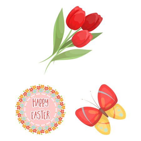 Easter is a Christian holiday cartoon icons in set collection for design. Easter attributes vector symbol stock illustration. Illustration