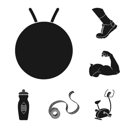 Fitness and attributes black icons in set collection for design. Fitness equipment vector symbol stock  illustration.