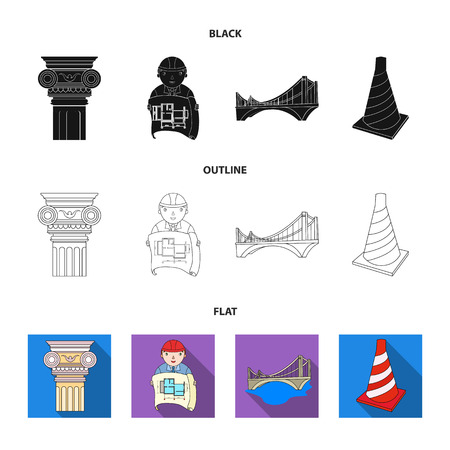 Column, master with drawing, bridge, index cone. Architecture set collection icons in black,flat,outline style vector symbol stock illustration web.