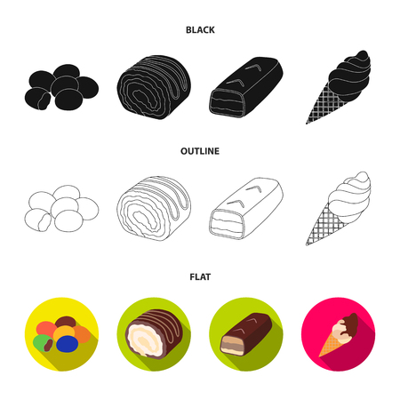 Dragee, roll, chocolate bar, ice cream. Chocolate desserts set collection icons in black,flat,outline style vector symbol stock illustration . Illustration