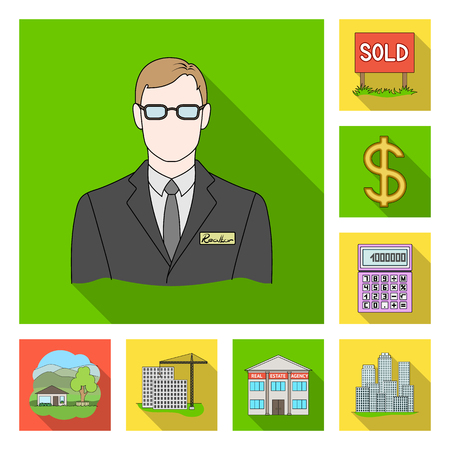 Realtor, agency flat icons in set collection for design. Buying and selling real estate vector symbol stock web illustration. Illustration