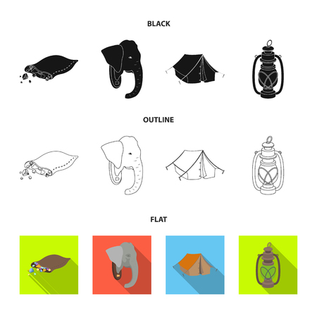 A bag of diamonds, an elephant head, a kerosene lamp, a tent. African safari set collection icons in black,flat,outline style vector symbol stock illustration web.