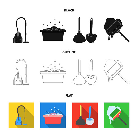 Cleaning and maid black,flat,outline icons in set collection for design. Equipment for cleaning vector symbol stock web illustration.