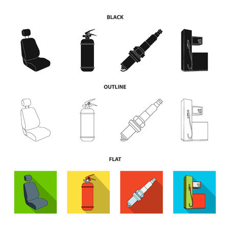 Chair with headrest, fire extinguisher, car candle, petrol station, Car set collection icons in black,flat,outline style vector symbol stock illustration web. Illustration