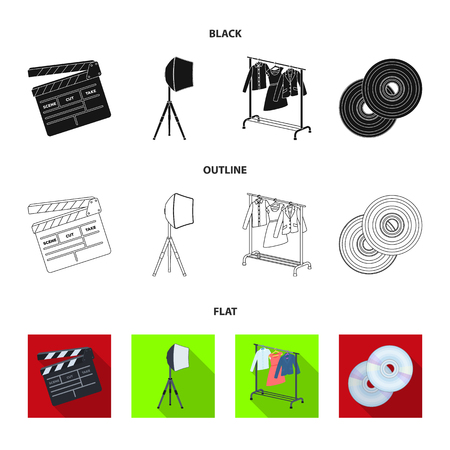 Movies, discs and other equipment for the cinema. Making movies set collection icons in black,flat,outline style vector symbol stock illustration web. Illustration