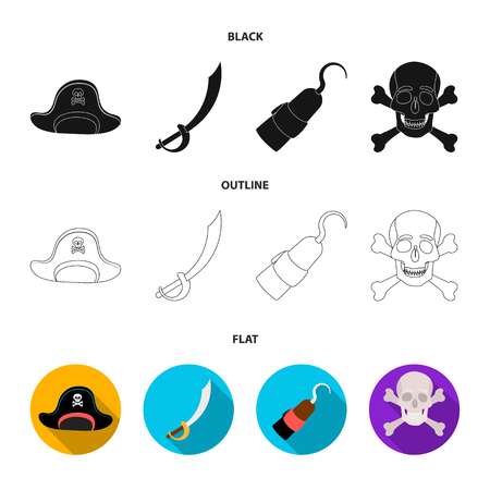 Pirate, bandit, cap, hook .Pirates set collection icons in black,flat,outline style vector symbol stock illustration . Illustration