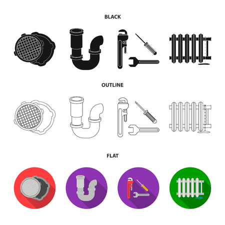 Sewage hatch, tool, radiator.Plumbing set collection icons in black,flat,outline style vector symbol stock illustration .