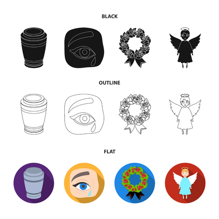The urn with the ashes of the deceased, the tears of sorrow for the deceased at the funeral, the mourning wreath, the angel of death. Funeral ceremony set collection icons in black,flat,outline style vector symbol stock illustration . Illustration
