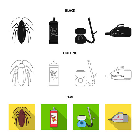 Cockroach and equipment for disinfection black,flat,outline icons in set collection for design. Pest Control Service vector symbol stock web illustration. Illustration