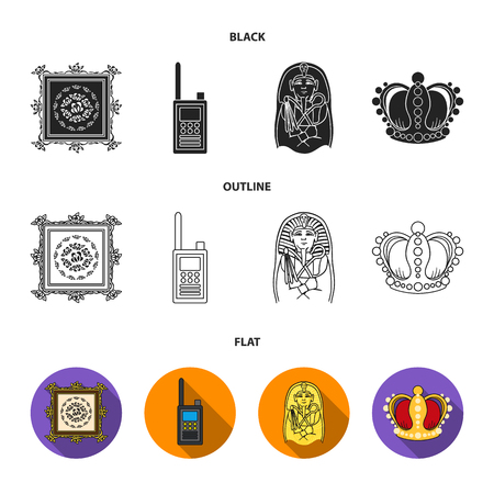 Picture, sarcophagus of the pharaoh, walkie-talkie, crown. Museum set collection icons in black, flat, outline style vector symbol stock illustration.